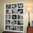 Blew up family photos to 8X10 and just taped it to the back of the window.