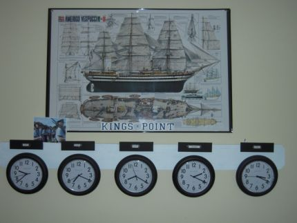 An old dog-ear fence board that my husband was going to toss out became the base for my clocks representing 5 time zones.   Our son sails around the world so we like to have an idea of what time it is where ever he might be. I painted the fence board white and attached 5 inexpensive clocks from IKEA.