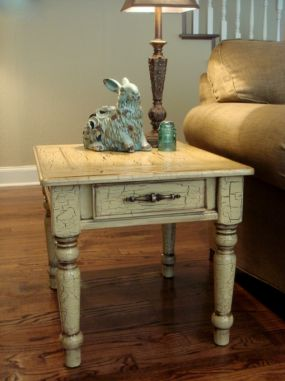 Side table ~ AFTER. With crackle glaze and weathered detailing. Hot!