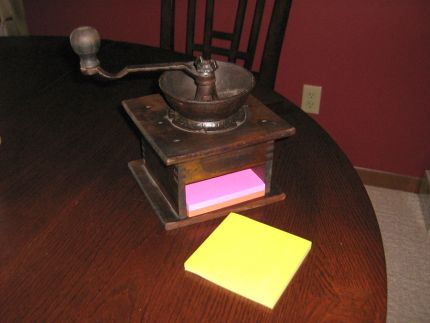 A coat of satin polyurethane and a stack of Post-it notes gives new life to this coffee grinder!