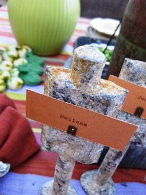 This is a up close and personal view of the placecard holders. Im not sure what they are, but I know theyre wonderful. The first time I visited Jenny K.s lab I was immediately drawn to them. Ive always said junk speaks to you and these littles beauties were shouting at me! What a treat to be able to take one home as a party favor!