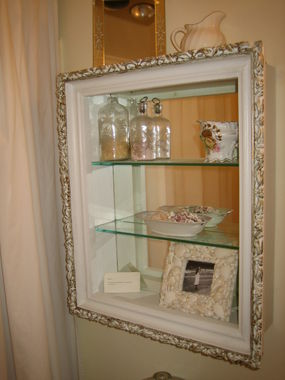 This Is A Shelf In Lauras Bathroom Repurposed Painted And Decorated From Gaudy Gold