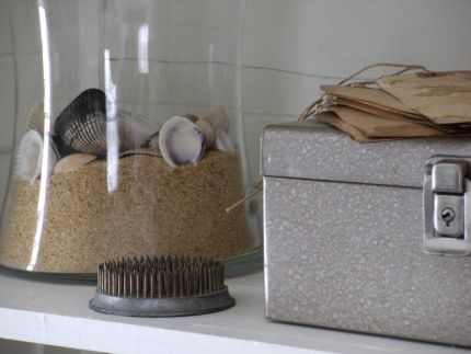Combined with a bit of play sand, shells look right at home in a glass vase.  A mini seascape, if you will.