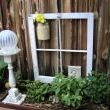 Found Victorian architectural pieces. An old window without the glass will serve as a trellis for the plants as they grow. And a white column pedestal holds a glass light globe as a gazing ball.