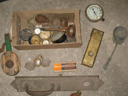 I was digging through a lot of boxes to find these treasures! Doorknobs, locks, gauges, watch faces, keys, eyeglasses, silverware, and more!