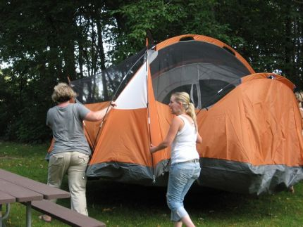 This is the JMS contributors setting up tent