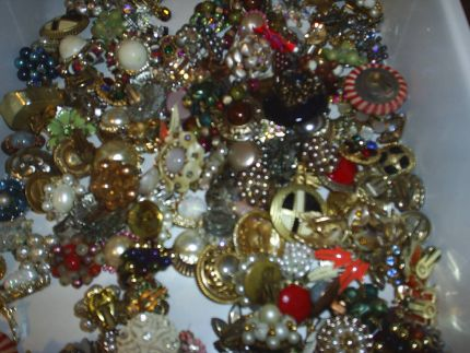 A friend bought a house which included all the contents.  I was lucky enough to be able to get all the jewelry she had - the following pictures are just a portion of what I got.