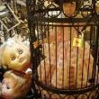 a vintage doll in her sunday best becomes a damsel in distress....who knows why the caged beauty sings???