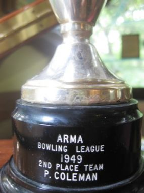 Trophies have always been cool and always will be, so feel free to use them over and over and over again. I promise... they just never get old! The P. Coleman 2nd Place Team trophy is a timeless beauty. The fact that it is a bowling trophy makes it priceless!