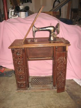 This beautiful Singer treadle sewing machine/cabinet is not in great shape. Its missing a front door, a few drawer/door knobs, hinges, and a LOT of veneer. Im a little torn between trying to restore it and taking it apart to repurpose the pieces. Im leaning toward disassembly... Sometimes.