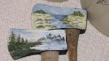 Painted axes.