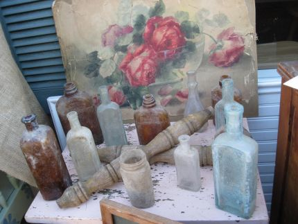 Super gorgeous old rose watercolor grouped with an amazing array of vintage bottles, all from the big Junk Exchange sale.