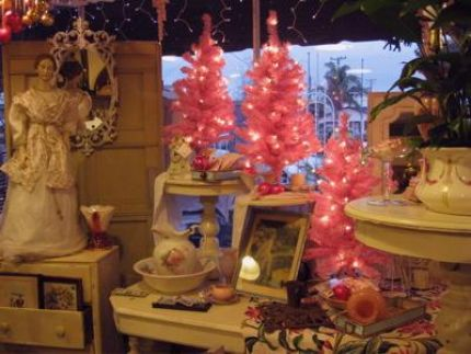 Pink, Turquoise, and Cream dominate this Christmas window...with a lot of sparkle for Hoiliday fun!