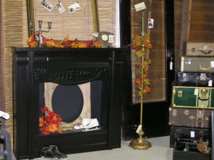 This is the finished faux fireplace on display at JunkFest 2009.