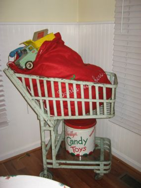 Santa is bringing so much to my house that he needed a shopping cart!  NOT - its completely stuffed with bubble wrap!