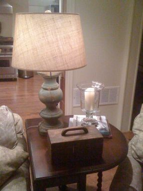 Baluster Lamps - found two balusters for $35 in a field in Warrenton and had made into lamps.  Added a PB shade