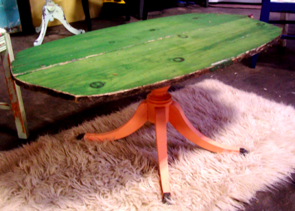Old green canoe coffee table