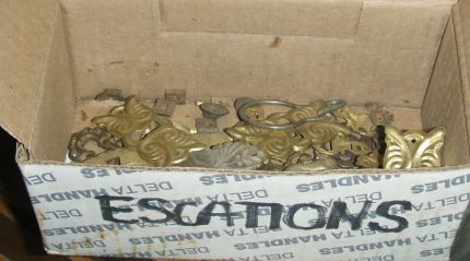 Box full of escutcheons...yes, I had to look up the proper spelling!