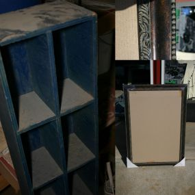 the cubby on the left was rescued (for free!) years ago from a thrift shop in austin, tx.  it was free and used to hold cassette tapes, etc.  now i plan to sand it to get rid of the really rough edges, paint it and glaze it.the mirror on the right (close up of detail on top) i just got today for $12.99 (regular 129.99--WOW!) because the mirror was broken.  im ditching the mirror, painting and glazing the frame, then the possibilities are endless!  i might get another mirror for it, i might turn it into a picture frame or shadow box, or i might put some original art in it!