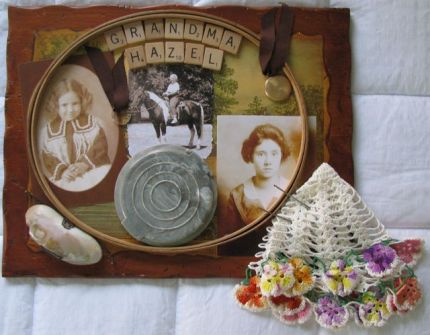 This collage included my grandmas mothers shell coin purse.
