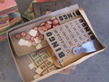 old Bingo boards w/ wooden number pieces