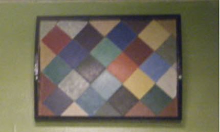 Mosaic tray created with linoleum sample tiles...easy cheesy!