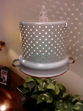 enamel strainer is now a hanging lamp