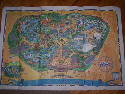 I was excited to find this vintage Disneyland map- its huge! You cant tell how big it is from this picture. This map is copyrighted 1966, but it has the Pirates of the Caribbean ride on it, which did not officially open until 1967. Maybe this is one of the first maps to depict that attraction!