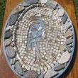 Recycled metal platter from thrift store with mosaic