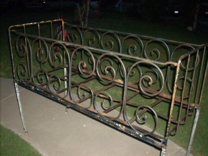 This beautiful old wrought iron crib was my youngest sons over 31 years ago. Today, it would be considered unsafe, so it would never be used for its original purpose. It was stored under our house, but when I dragged it out the other day, it brought back so many memories! I bought it back then from an antique store and was told that it was salvaged from an old french hospital that had been torn down.