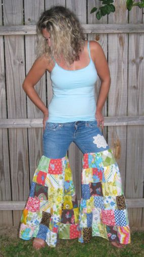 So fun..Lots of my fave. scrap fabric and an old pair of jeans turned into these funky and very creative ONe of a Kind Tiered patchwork bloomers...So cute...and comfy,flowy...