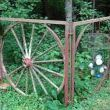 I hung these on an old gate frame.  The wagon wheel rotted out on this side.  (it was that way when I found the gates)