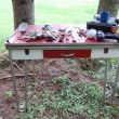 This is my FAB work bench.  An old red metal hairpin table I got at an auction for $10.  Someday I will have a work shop to put it in.....