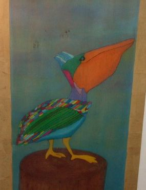 I promised I would post this to go along with Vickis (artteachergirls) multi-colored cat in her stairwell! I think this bird and your cat would get along nicely! What do ya think? And yes, I think we might be twins separated at birth! :)