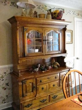 Found Country China Cabinet Sitting On Top Is Old Metal Basket Its My Fall