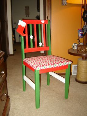 A little paint from lowes, some fabric and glue...and its a new chair!