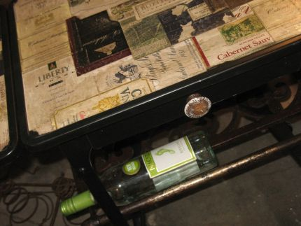 Updated 70s typewriter stand... Its amazing what a fresh coat of paint and aged wine labels can do!