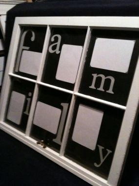 Here is a 6 pane window I made to display pictures. I used letters cut with my Cricut and scrapbook paper for the matte.
