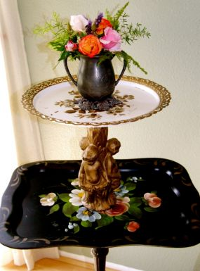 The option to fill the creamer with flowers or even seasonal twigs, pine or fall leaves, makes this piece change character throughout the year.