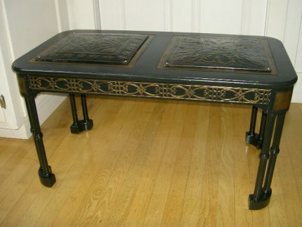 I was already in the process of painting this antique coffee table black,  over someone - Steampunk Coffee Table - JUNKMARKET Style