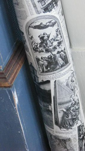 I used pages from an old encyclopedia set to decoupage a plain white poster tube.