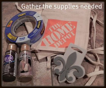Gather together supplies: Home Depot .99 tool bag 2 contrasting shades of acrylic paint painters masking tape large stencil sponge brushes