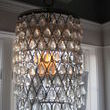 A naked metal lamp shade all dressed up in a full set of crystals is the bell of the bathroom ball. Yes, indeed my junking friends this puts the spa in sparkle. I just love when words work in my favor!