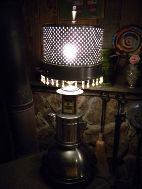 I had a little too much fun turning a pile of old kitchen junk into a lamp!