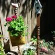 spindle+old gas cap+creamer=cute~as~can~be planter!