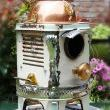 White & Green Enamel Porcelain Space Heater Upcycled Bird House