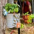 Galvanized Bucket with Keys and License Plate & Copper Baking Mold Upcycled Hanging Baskets.