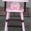 Finished project. This doll high chair was my sisters who is 50 this year. I repaired & painted it for my Great Nieces 3rd birthday. The colors are the same as her bedroom decorations.
