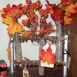 A very vintage double rack rubber stamp holder made into a fall display.