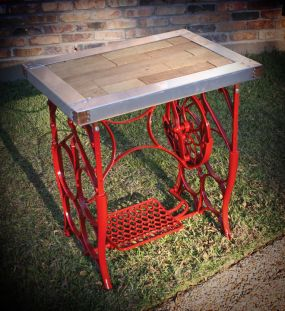 Upcycled Iron Sewing Machine Side Table